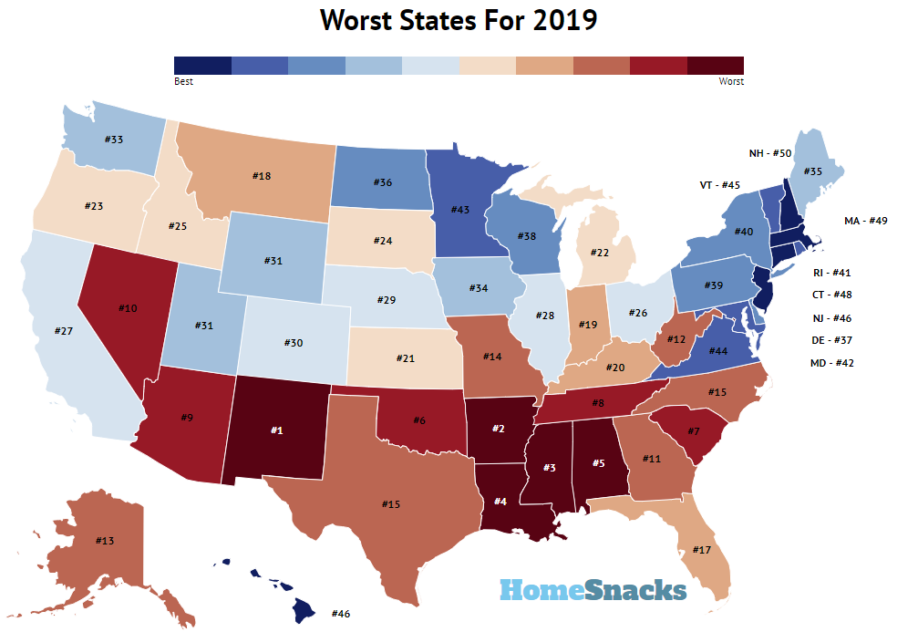 Right To Work States Map 2016.These Are 10 Worst States In America For 2019 Roadsnacks