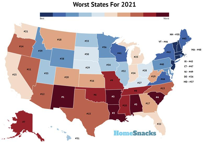Worst States In America Map
