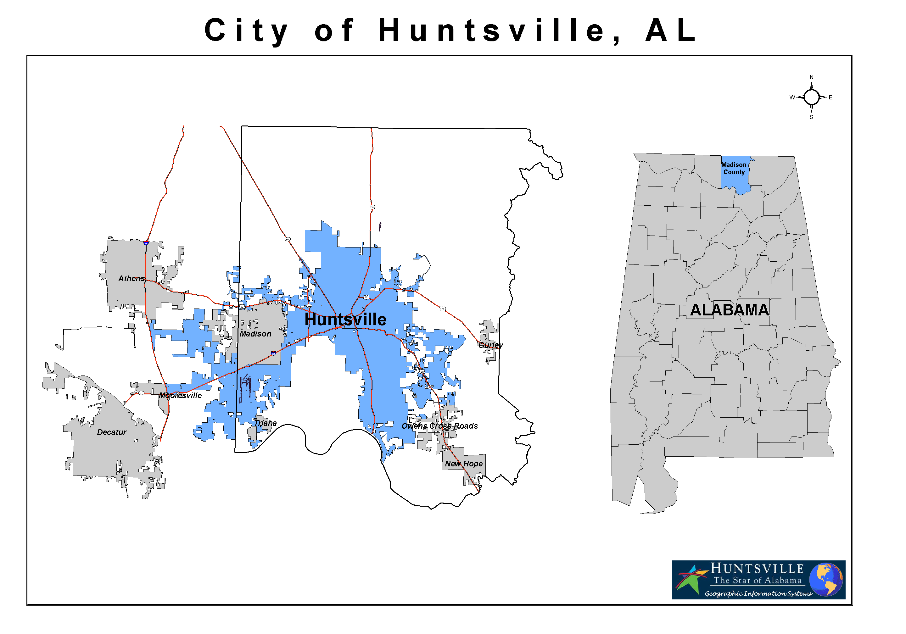 Madison County Alabama With Current Huntsville Corporate Limits Highlighted In Blue