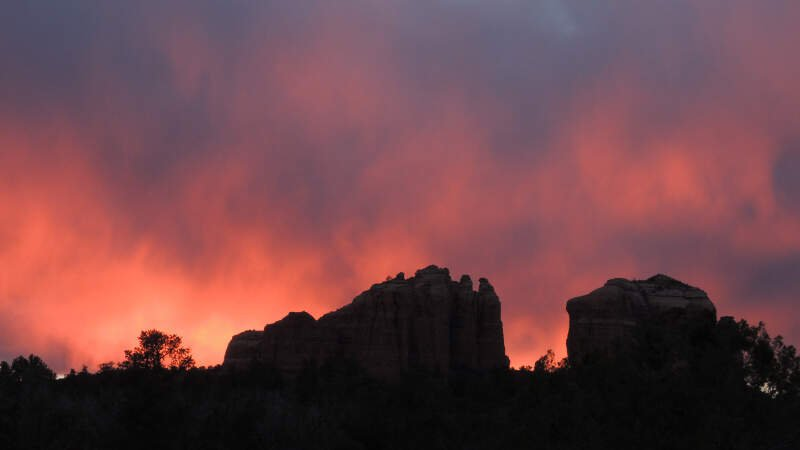 Sedona Sunset Over Rocks With Clouds