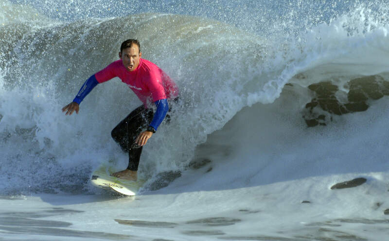 Us Navy N M Jefferey Easson Rides A Wave Off Of Point Mugu During The First Naval Base Ventura County Surf Contest