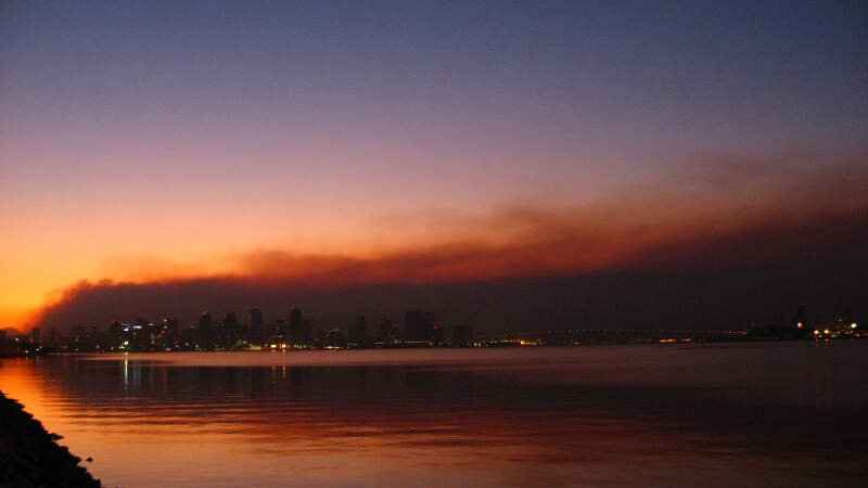 San Diego Skyline Against Smoke From Wildfires Oct