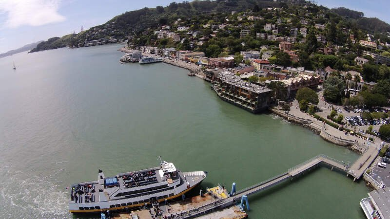 Aerial View Of Ferry Docking At Sausalito