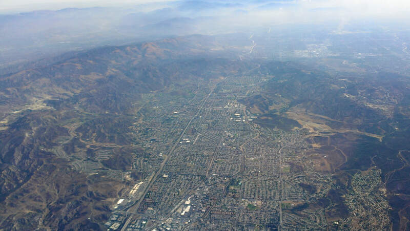 Simi Valley Aerial From West With Mountains August