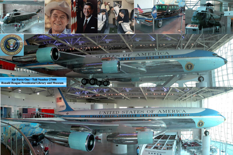 Collage Of The Air Force One Pavillion At The Ronald Reagan Presidential Library