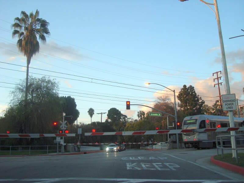 Gold Line Crossing Fremont Ave