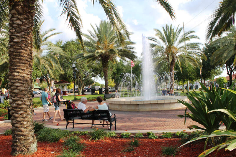 Fountain Walk In Downtown Winter Havenc Florida