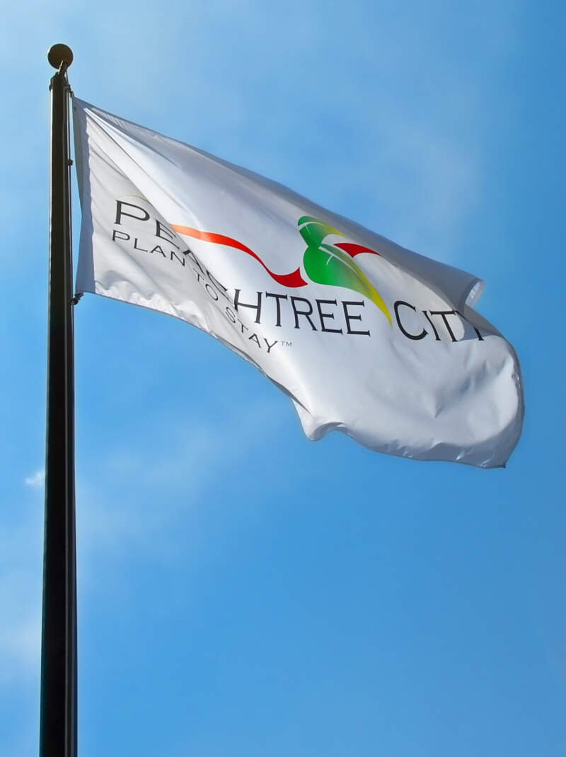 Official Peachtree City Flag In Peachtree Cityc Georgia