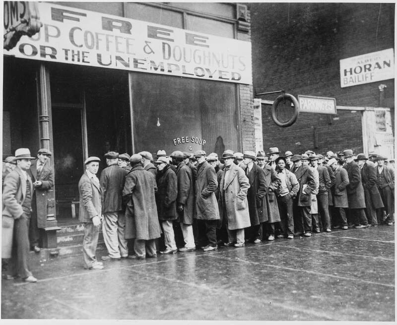 Unemployed Men Queued Outside A Depression Soup Kitchen Opened In Chicago By Al Caponec   Nara