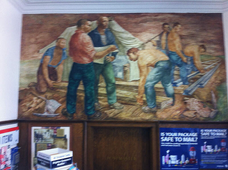 Chillicothec Il Post Office Muralc Rail Roading By Arthur H