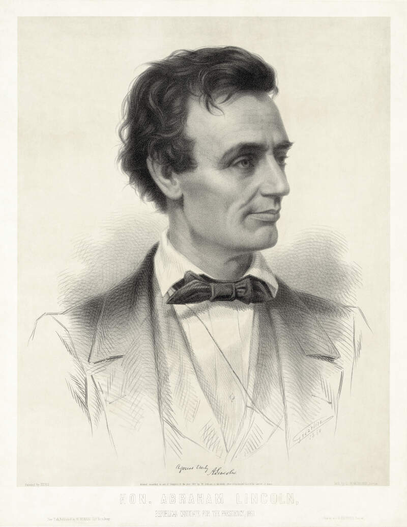 Thomas Hicks  Leopold Grozelier  Presidential Candidate Abraham Lincoln  Cropped To Lithographic Plate
