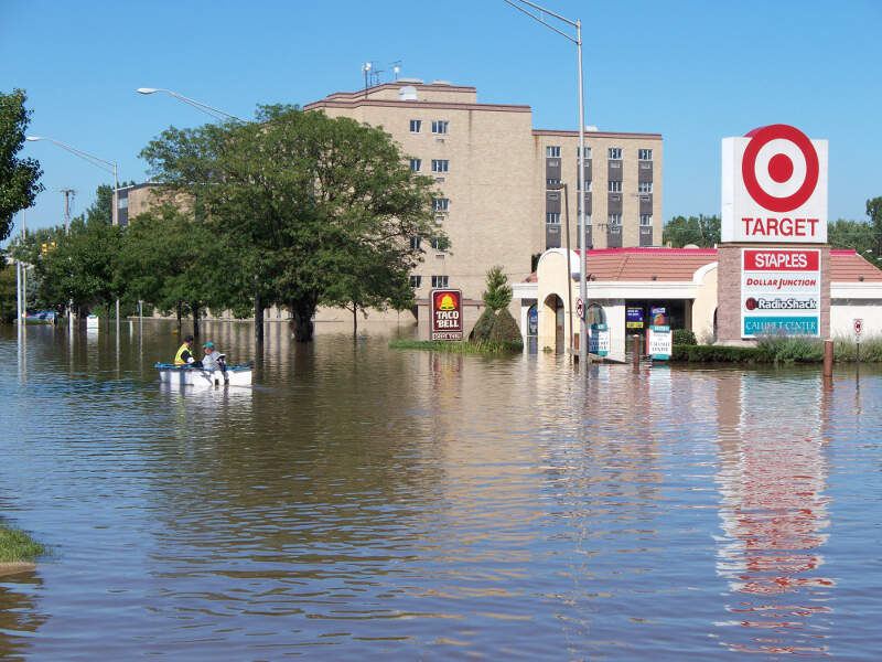 Residents Boat Down A Main Street In Munsterc In