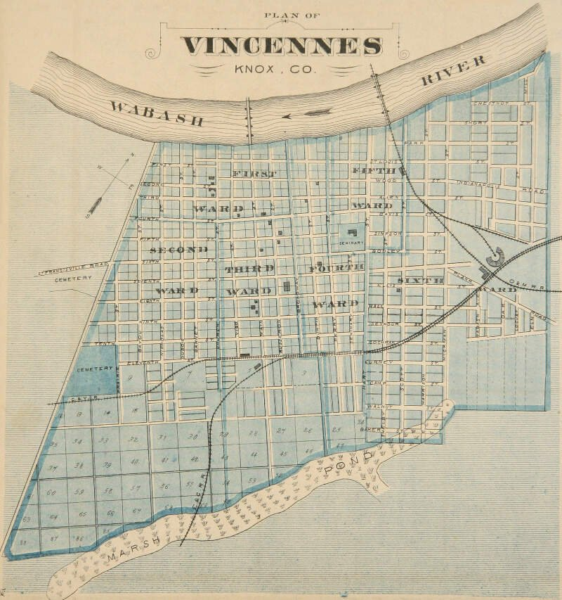 Vincennesc Indiana Map From Atlas