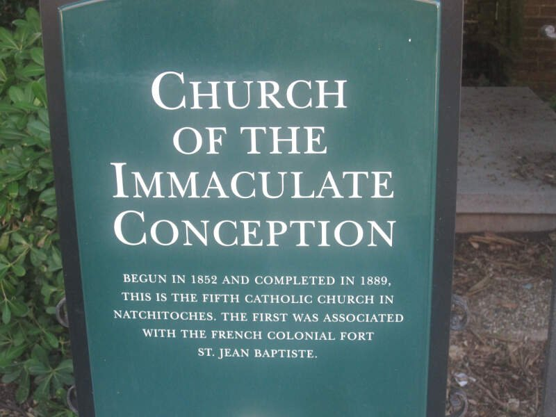 Church Of The Immaculate Conception Sign In Natchitoches Img