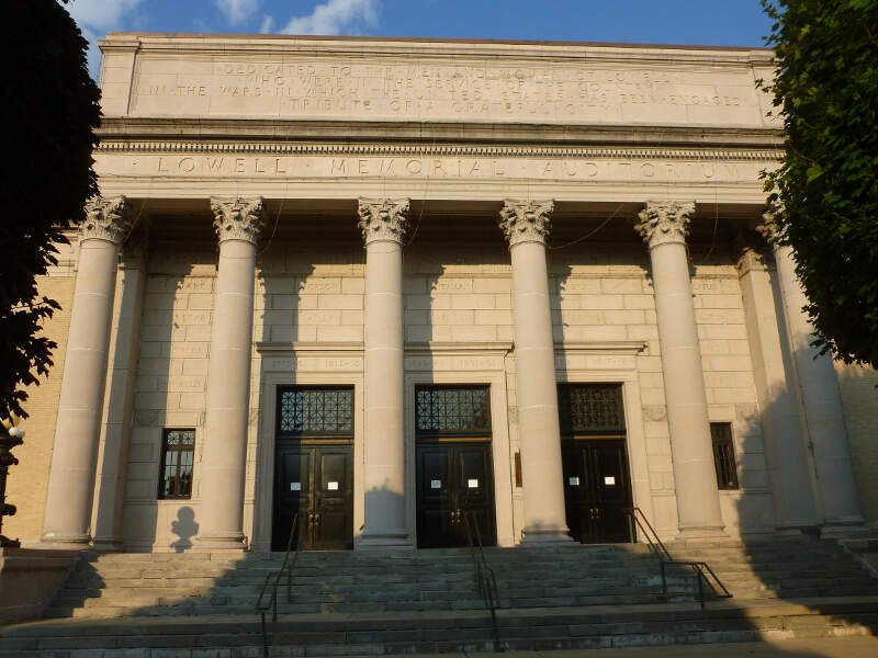 Lowell Memorial Auditorium Main Entranceb Lowellc Mab West Front Sideb