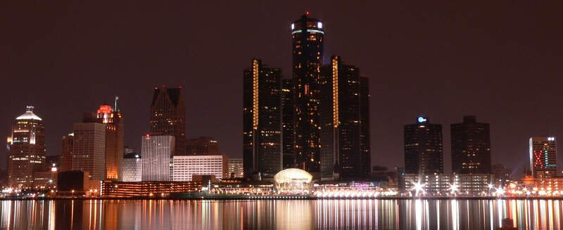 Detroit Night Skyline