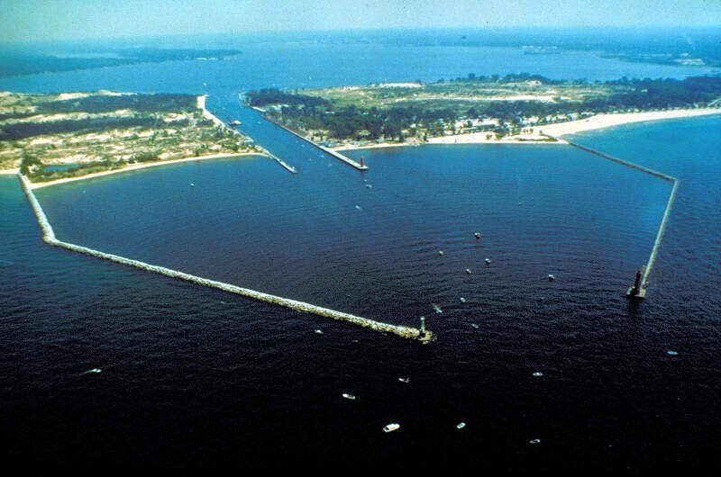 Muskegon Michigan Harbor Entrance