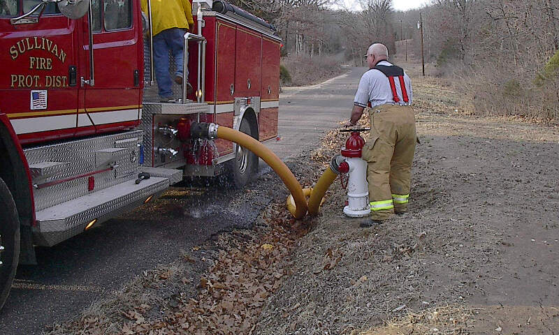 Sullivan Mo Firefighters Use Hydrant On