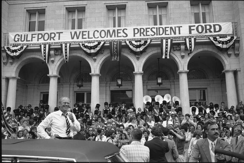 President Ford During A Campaign Stop   Nara
