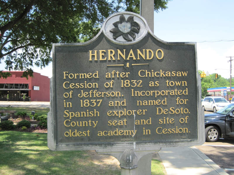 Historical Marker At Court Square Hernando Ms