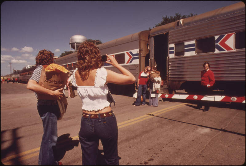 One Last Photograph Before Passengers Board The Empire Builder At Fargoc North Dakotac Enroute From Chicago To East
