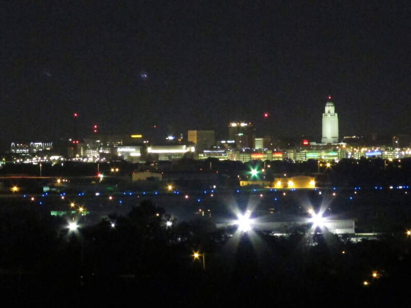 Nighttime Skyline Of Downtown Lincolnc Nebraskac Usa C From Arnold Heights Park