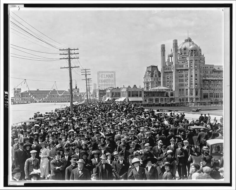 Atlantic City Boardwalk Crowd In Front Of Blenheim Hotel Re Retouched