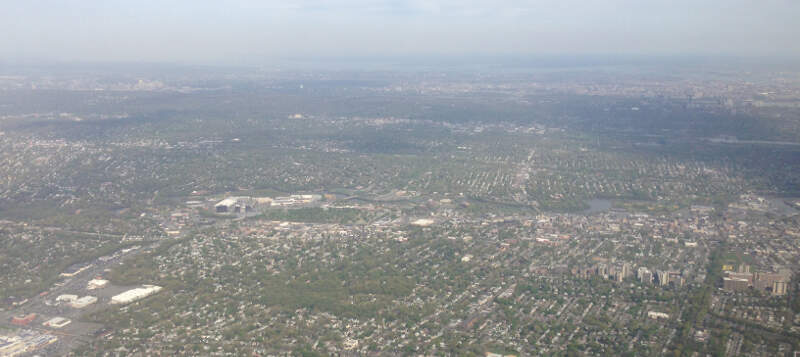 View Of Hackensackc New Jersey From An Airplane Heading For Newark Airport Cropped