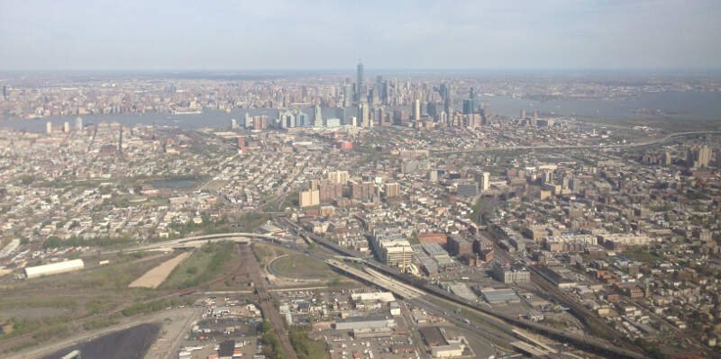 View Of Lower Manhattanc Jersey Cityc New Jerseyc And Several Highways Cropped
