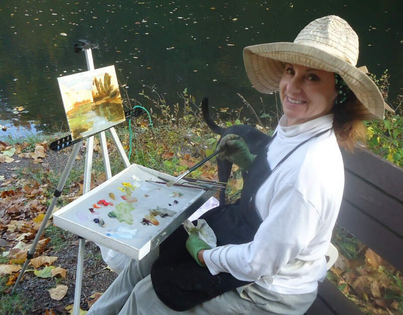 Artist Emma Auriemma Painting At Echo Lake Park In Mountainside New Jersey
