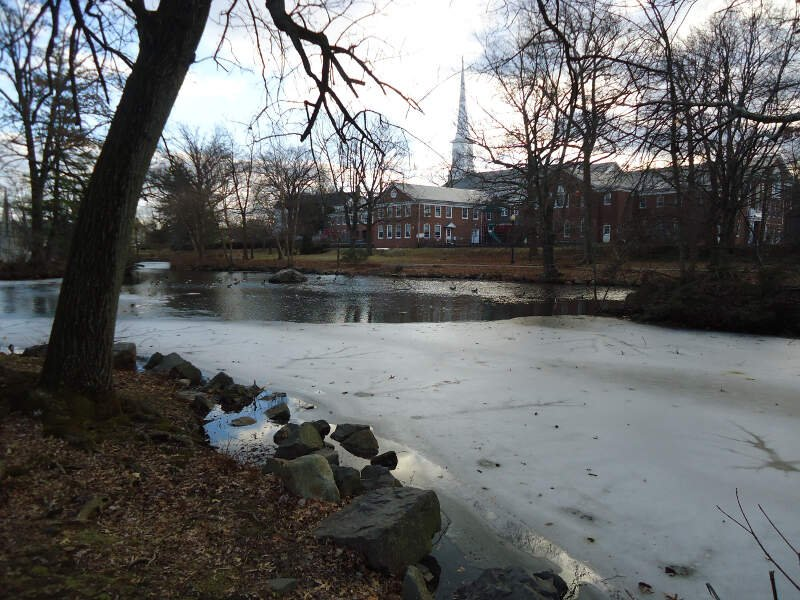 Westfield New Jersey Mindowaskin Park With Buildings And Trees And Frozen Lake