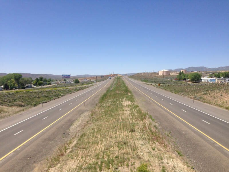 View West Along Interstate  From The Exit  Overpass In Carlinc Nevada