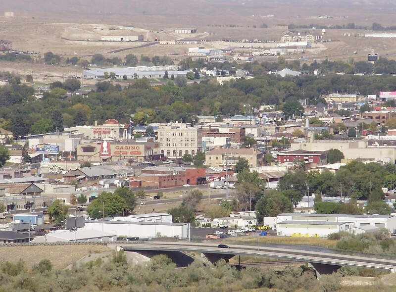 View Of Downtown Elko In Nevada From A Bluff To The South