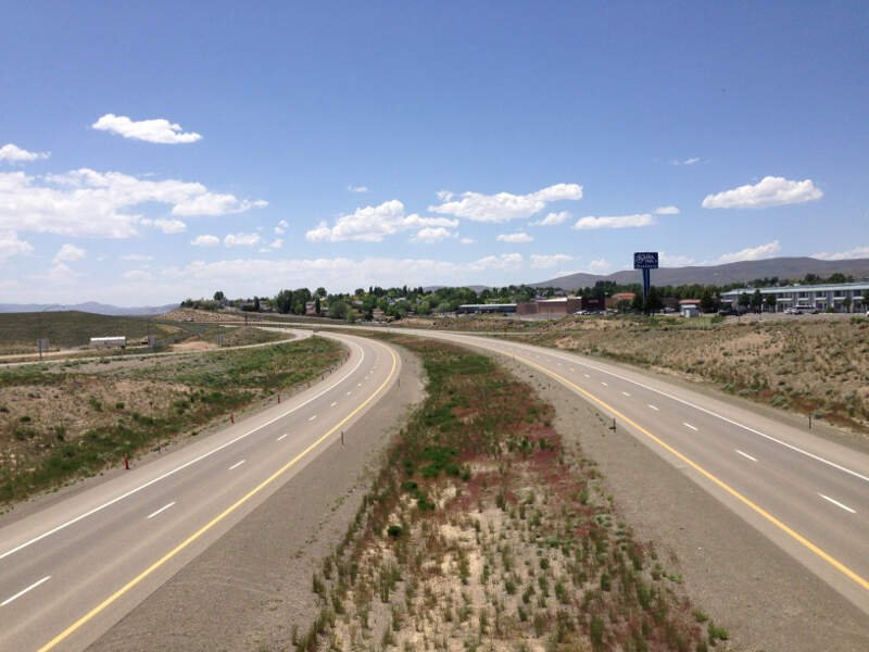 View West Along Interstate From The Exit Overpass In Elkoc Nevada