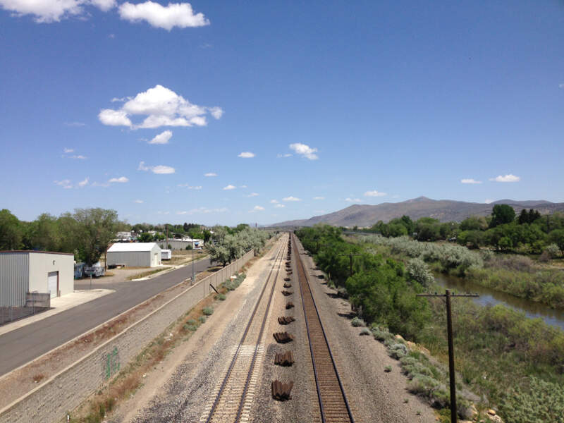 View East Along The Union Pacific Railroad From The Th Street Bridge In Elkoc Nevada