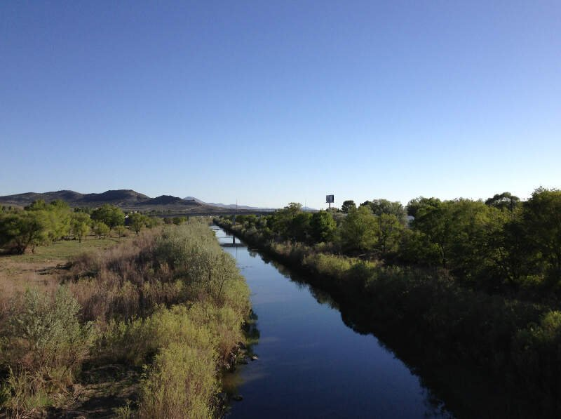 View Southwest Along The Humboldt River From The Th Street Footbridge In Downtown Elko Nevada