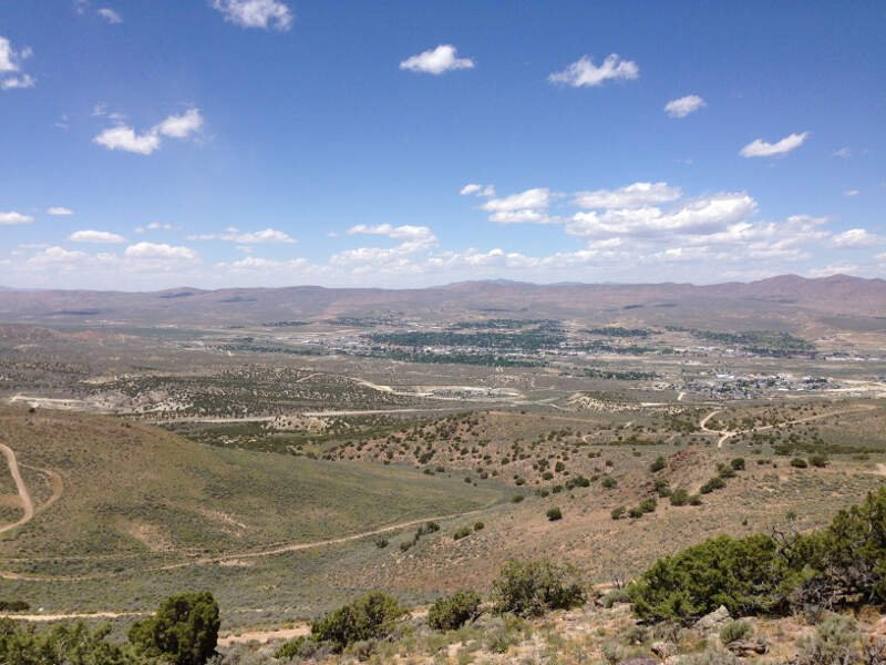 View Of Elkoc Nevada From E Mountain In The Elko Hills Of Nevada