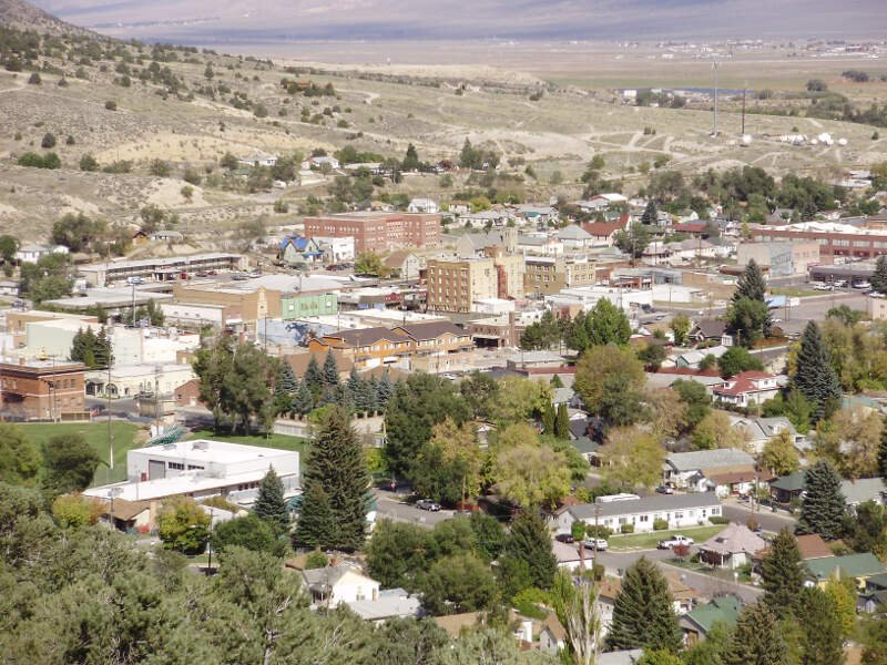 View Of Downtown Ely In Nevada From The Lower Slopes Of Ward Mountain