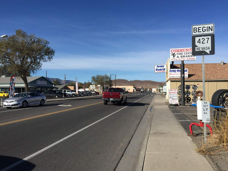 View West Along Main Street Nevada State Route  In Fernleyc Nevada