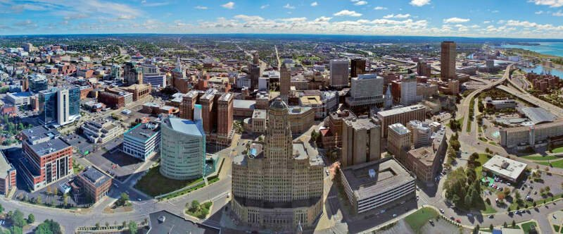 Aerial Photo Of Buffaloc Ny Skyline