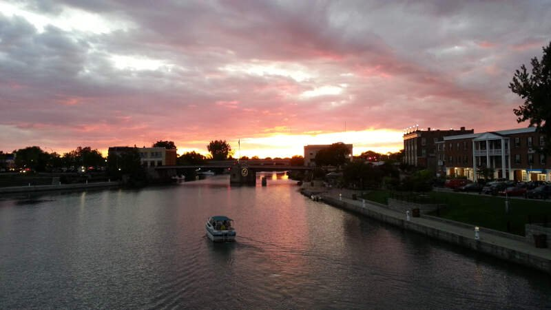 Sunset Over The Erie Canal In North Tonawandac Ny
