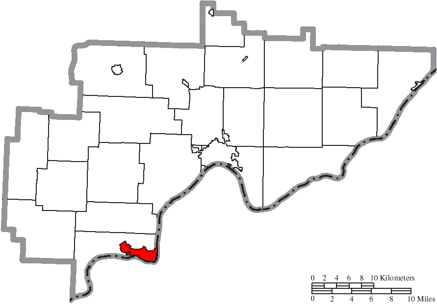 Map Of Washington County Ohio Highlighting Belpre City