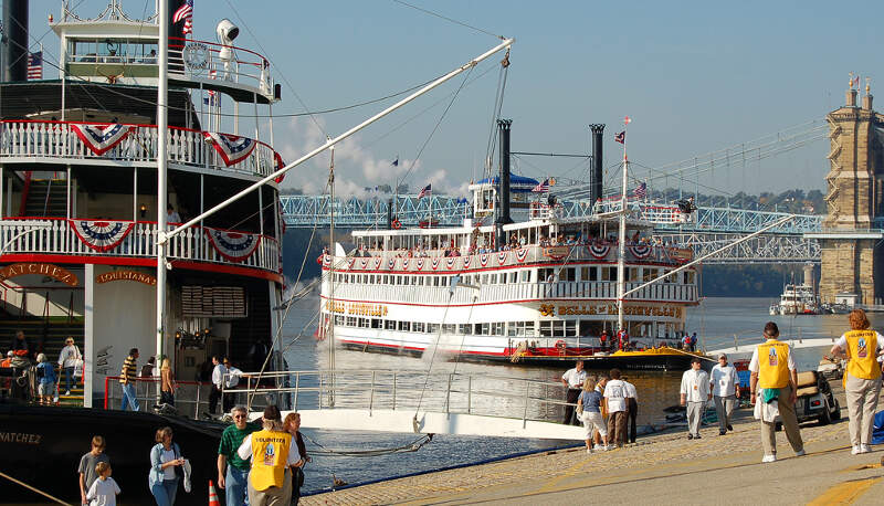 The Belle Of Louisville Docks Next To The Natchez In Cincinnati For Tall Stacks