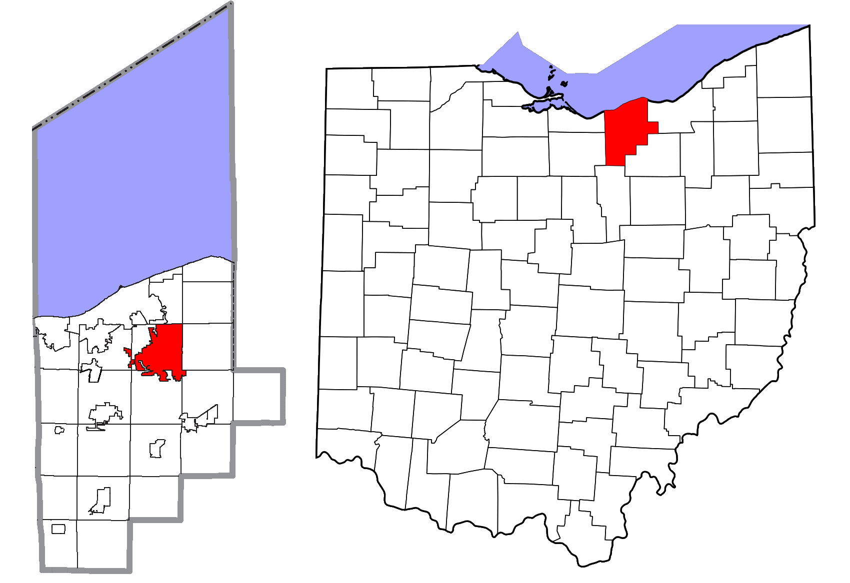 Lorain County Ohio Elyria Highlighted