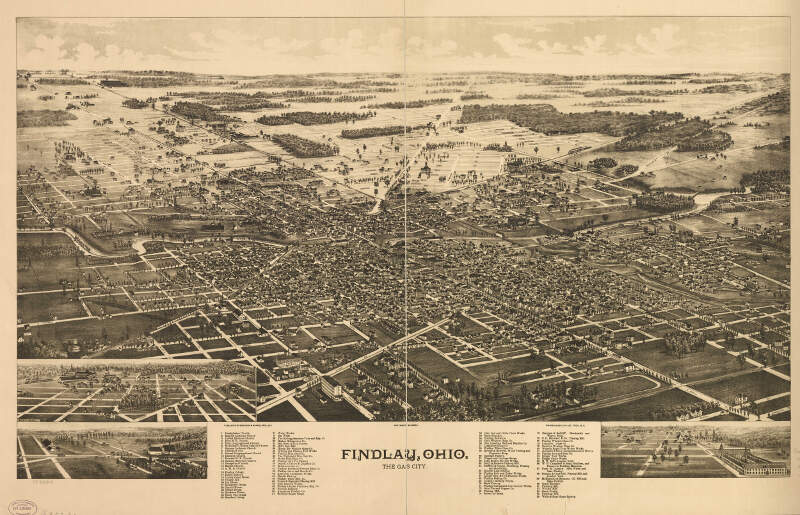 Panoramic Map Of Findlay Ohio