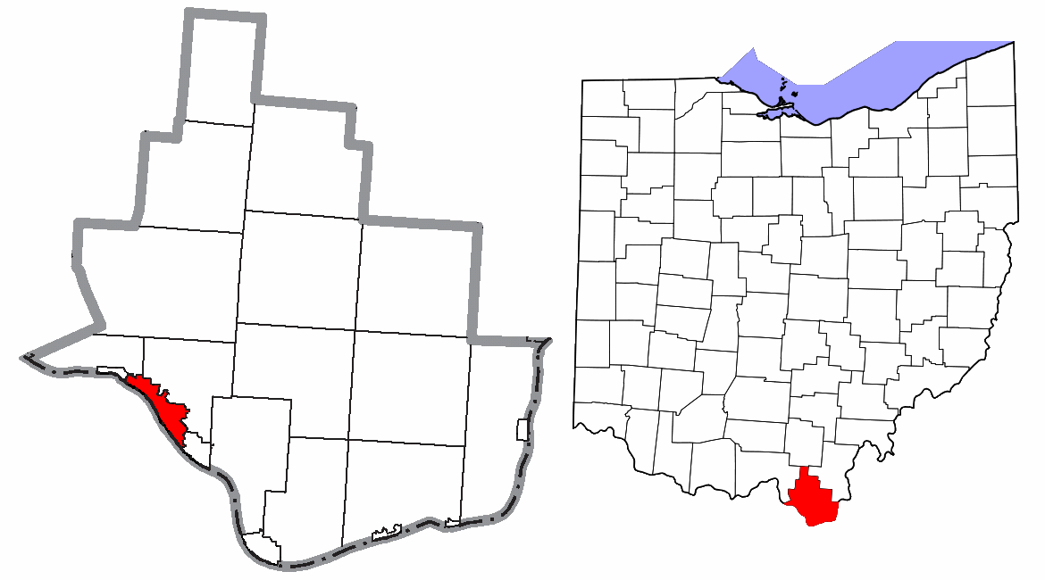 Lawrence County Ohio Ironton Highlighted