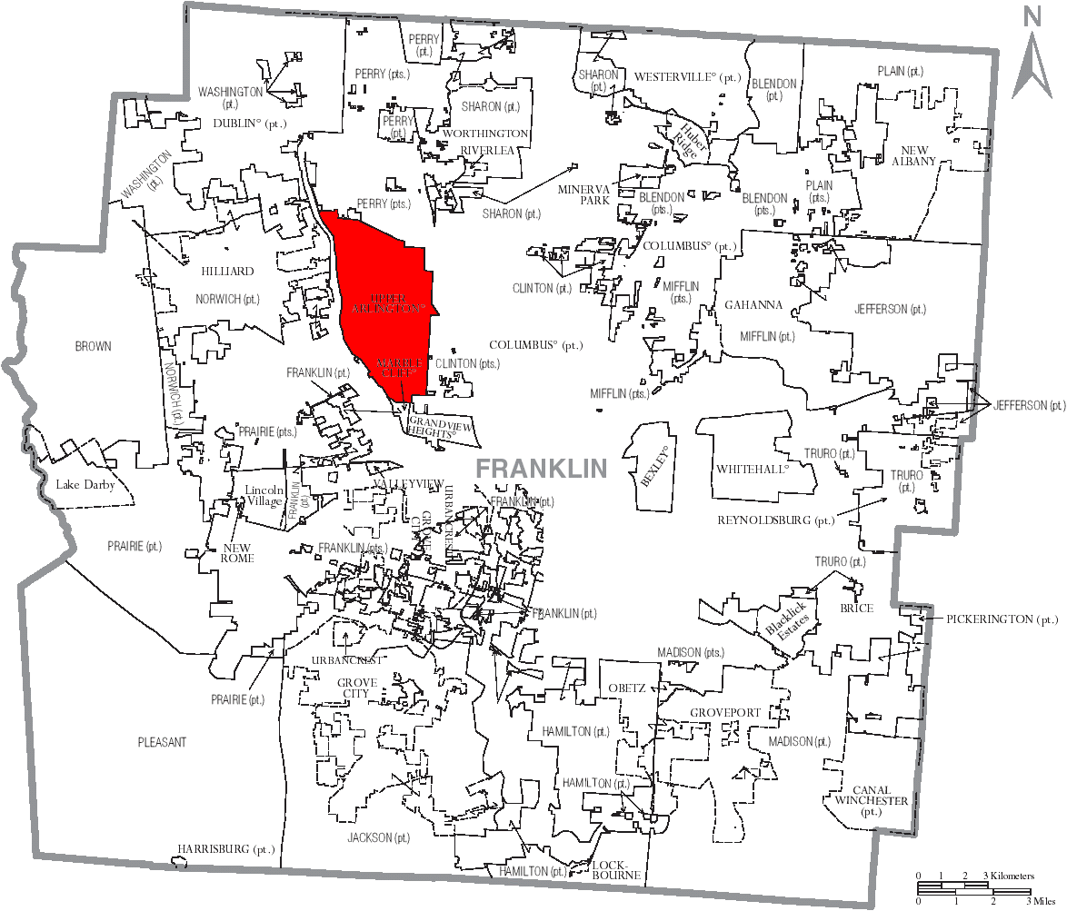 Map Of Franklin County Ohio With Upper Arlington Labelled