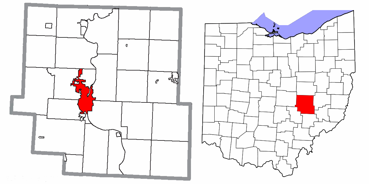 Muskingum County Ohio Zanesville Highlighted