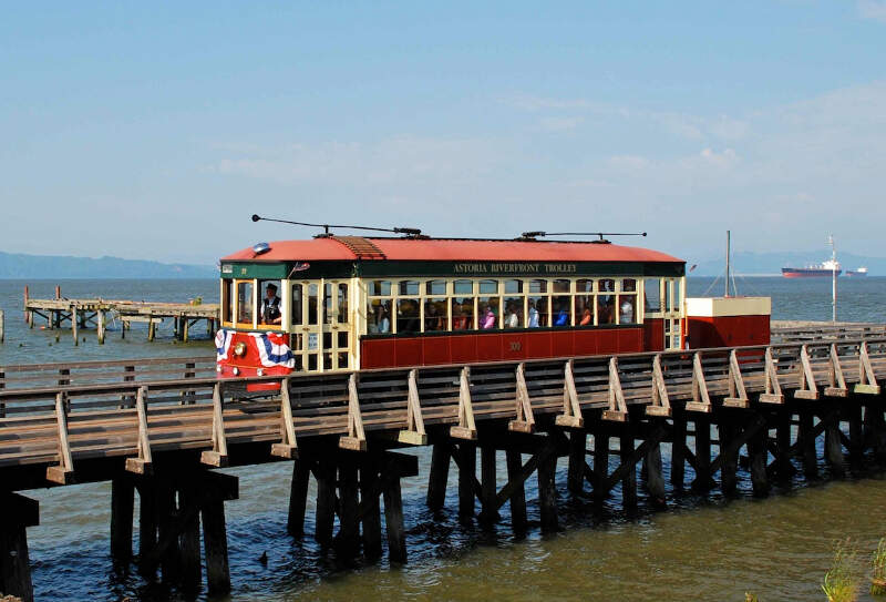 Astoria Riverfront Trolley On Trestle West Of Nd Street Crop