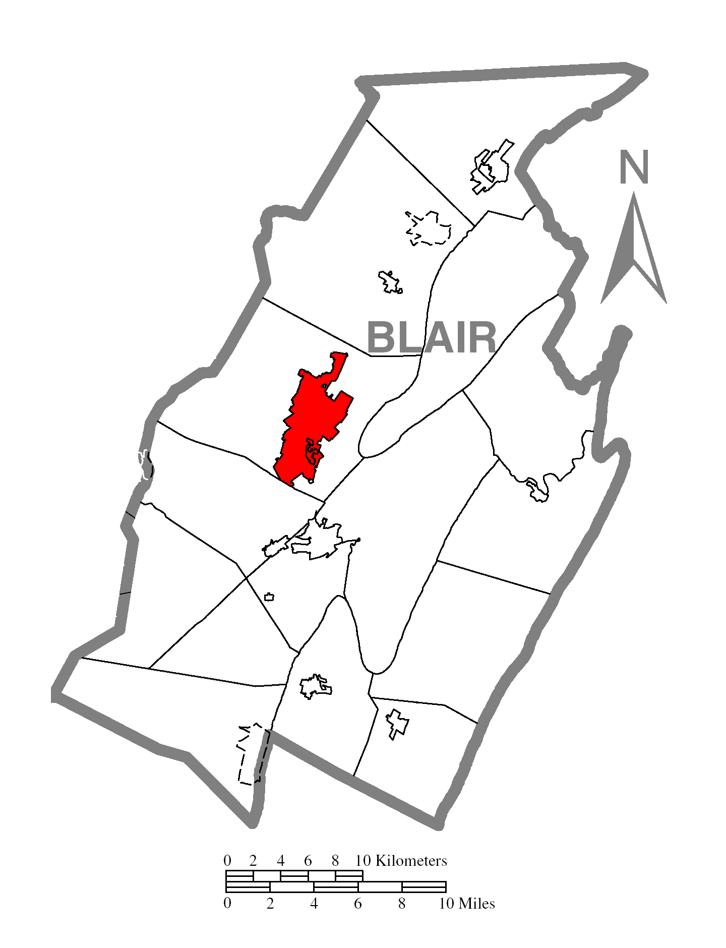 Map Of Altoonac Blair Countyc Pennsylvania Highlighted